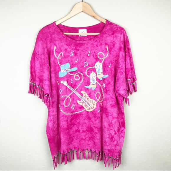 b46bef0df0415 Tie Dye with Beaded Fringe Western T Shirt Size L